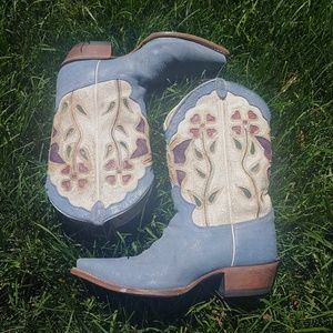 Justin Blue Leather Suede Butterfly Boots Size 9